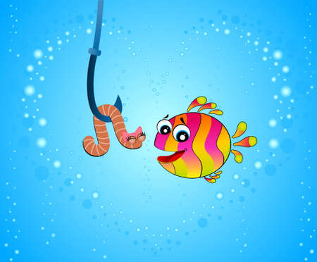 little cartoon funny fish eats a worm photo