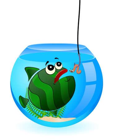 little cartoon funny fish eats a worm photo