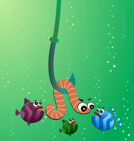 little cartoon funny fish eats a worm Stock Photo - 6457038