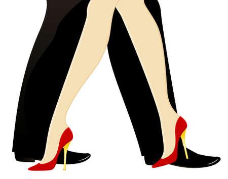 beautiful womanish and masculine legs dance photo