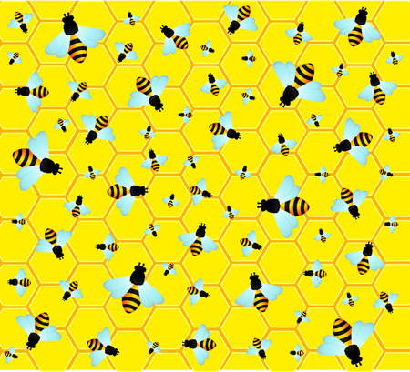 beautiful bright background with funny bees photo