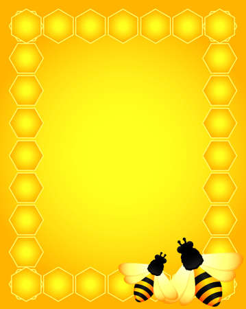 honeyed:  beautiful bright background with funny bees Stock Photo