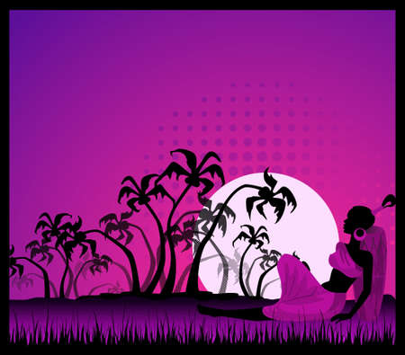 summer banner with tropical palms and African girl photo