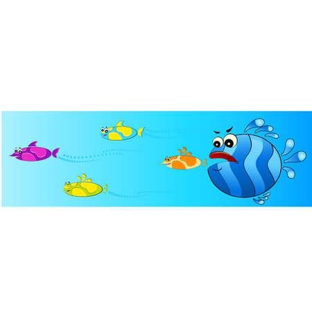 pursue: colorful tropical fish pursues after little fish
