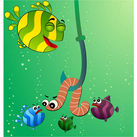 eats: little cartoon funny fish eats a worm