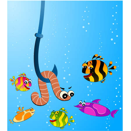 little cartoon funny fish eats a worm Stock Vector - 6602109