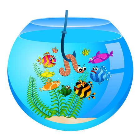 pursue: little cartoon funny fish eats a worm