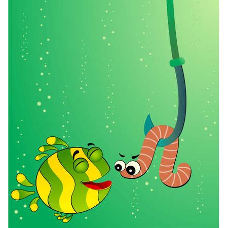 fish in ball: little cartoon funny fish eats a worm
