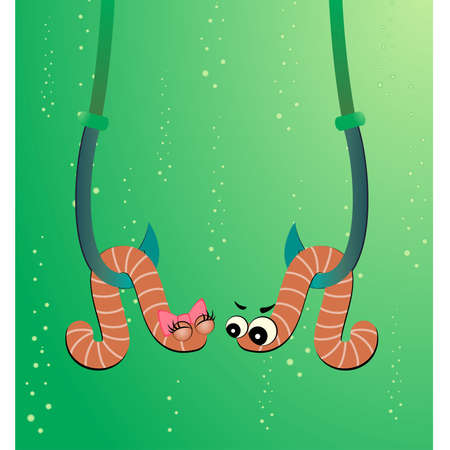 cartoon two worms hang on hooks under water Stock Vector - 6602120