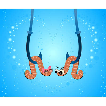 cartoon two worms hang on hooks under water Vector