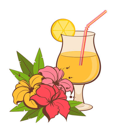 tropical flowers and summer cocktail on a white background photo