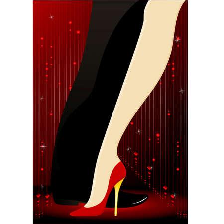 beautiful womanish and masculine legs dance a tango Illustration