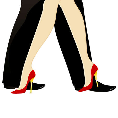 beautiful womanish and masculine legs dance a tango Vector