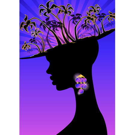 summer banner with tropical palms and African girl Vector Illustration