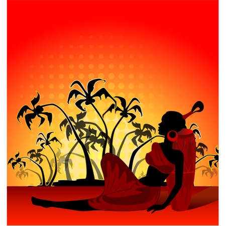 symbol woman: summer banner with tropical palms and African girl
