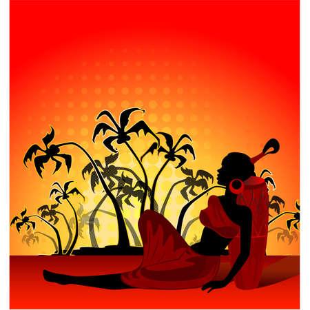 femme africaine: �t� banni�re avec palmiers tropicaux et fille africaine Illustration