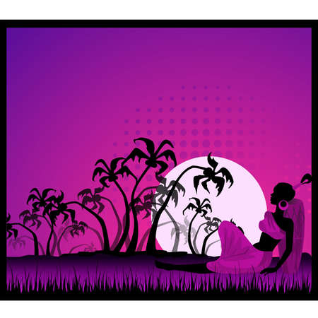 happy african woman: summer banner with tropical palms and African girl