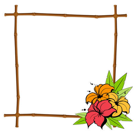summer frame from bamboo with tropical flowers Vector