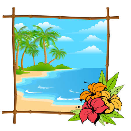 beach butterfly: cartoon palm tree in bamboo frame