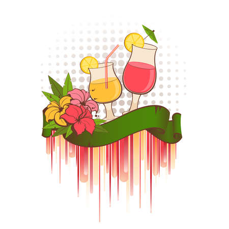 summer background with tropical flowers and cocktail Vector