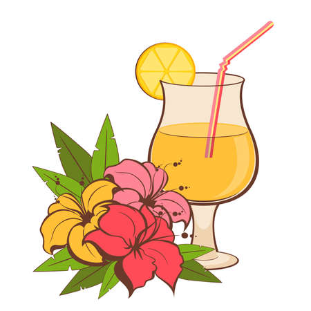 daiquiri: summer background with tropical flowers and cocktail