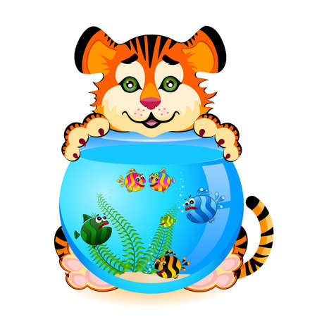 little cartoon tiger with little colorful tropical fish in aquarium Vector