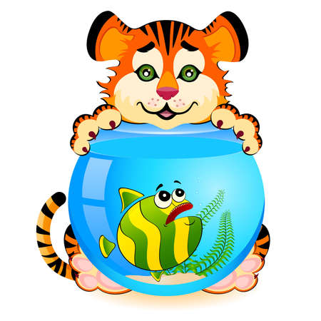 little cartoon tiger with little colorful tropical fish in aquarium Stock Vector - 6665957