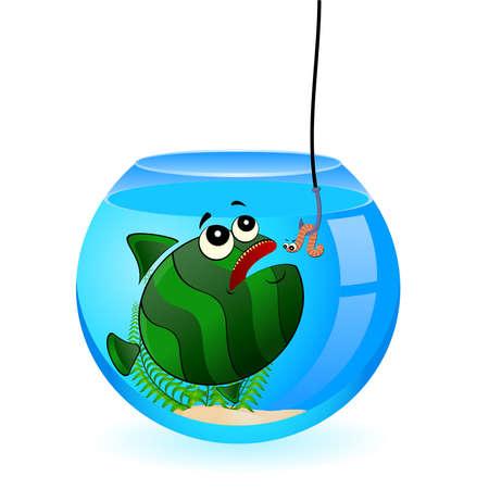 little cartoon funny fish eats a worm Stock Vector - 6665893
