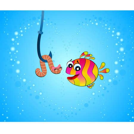 pursue: big cartoon funny fish eats a little worm
