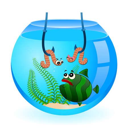 big cartoon funny fish eats a little worm Vector