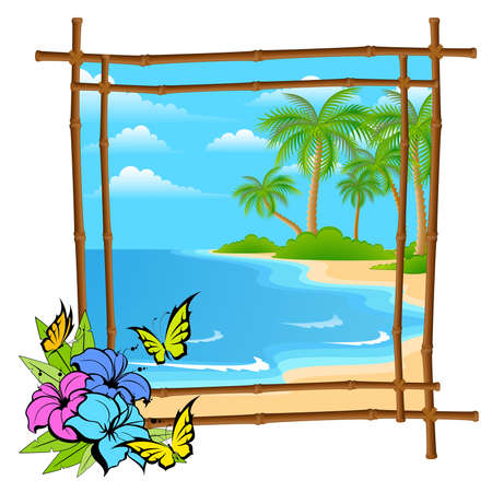 cartoon palm tree  in bamboo frame Vector
