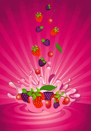 Tasty fruit in yoghurt photo