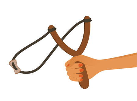 reckless: cartoon childs hand with a slingshot