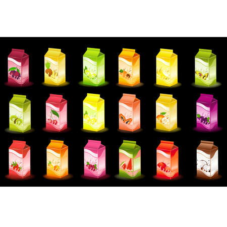 design of packing milky products with fruit Vector