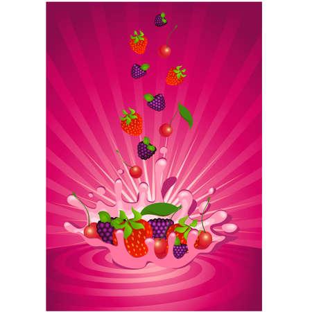 Tasty fruit in yoghurt Vector