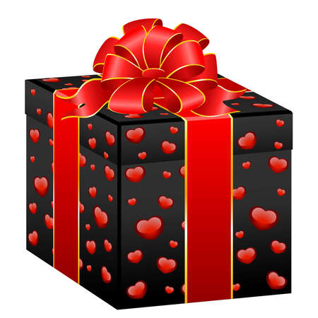 festive box with hearts  Vector
