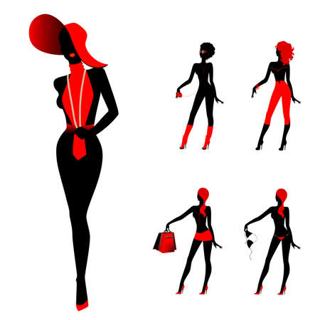 sexy woman silhouette: set of beautiful silhouettes of girls Illustration