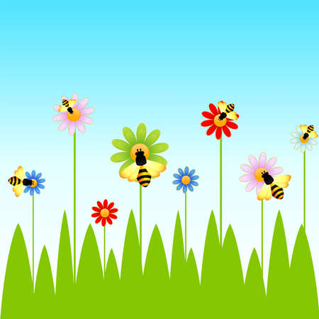 honeybee: Funny bee and camomiles Illustration