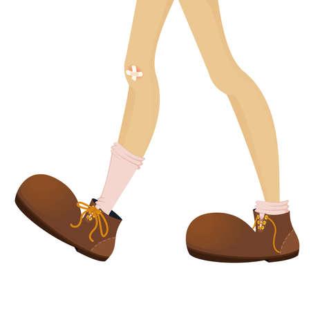 grappige voeten van tiener zijn in grote laarzen