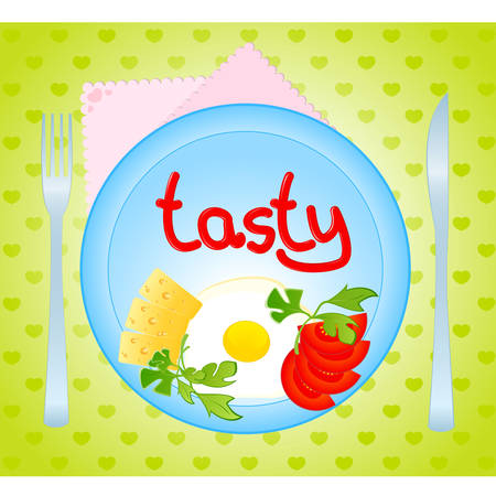 chunk: he appetizing delicious fried eggs and tomato, cheese Illustration