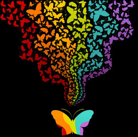 Grunge background with tropical butterflies