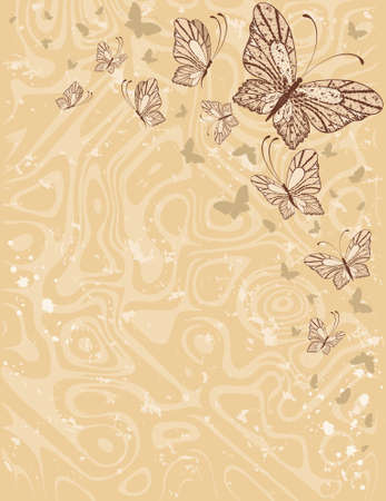 Grunge background with tropical butterflies. photo