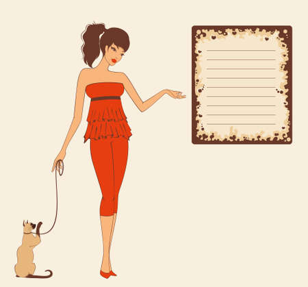 pin-up girl with cat in retro style. illustration