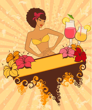 Beautiful pin-up girl with cocktail in retro style Stock Photo - 7048477