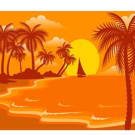 sunset on a summer beach for a design Vector