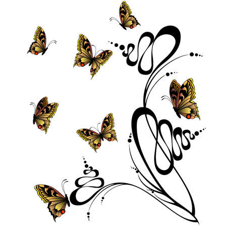 grunge background with flowers and butterfly.  Stock Vector - 7048556