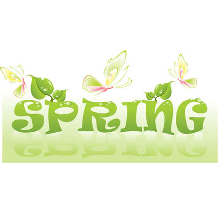 dewdrops: Beautiful word Spring with leaves