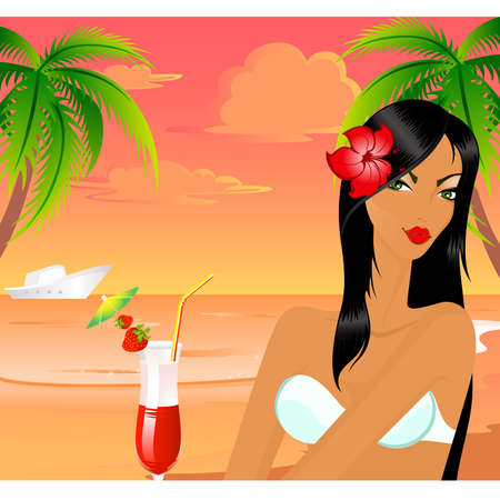 Beautiful young girl on the summer beach Vector