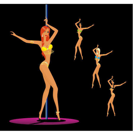 silhouette of young women dancing a striptease Vector