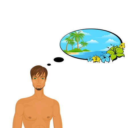 sexy man dreams about a summer travel Vector